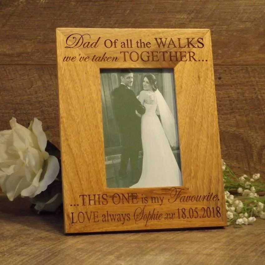 Personalised Dad Of All The Walks Wedding Picture Oak Photo Frame